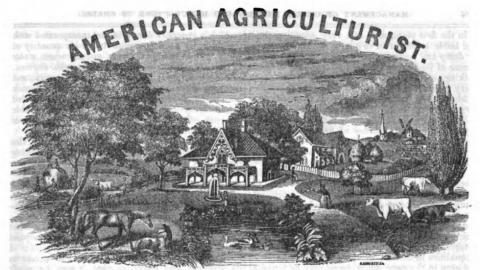 Masthead of the American Agriculturalist, 1848, an American periodical for farm men and women.