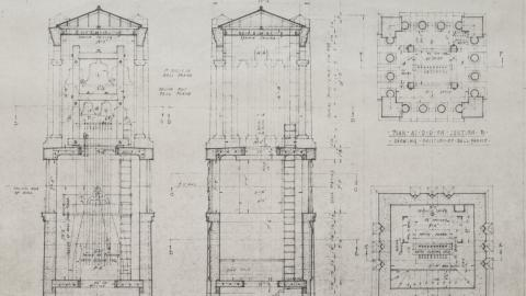 Memorial Belltower Plans Detailing Bells (undated)