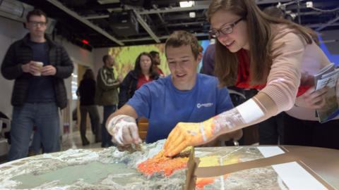Students were able to utilize tangible landscape at a recent Coffee & Viz event.