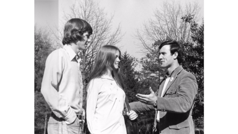 Ron Jessup campaigning for Student Body President, 1974