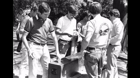 Students voting, 1974.