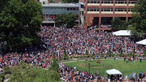 Eclipse crowd gathers in front of D. H. Hill Library