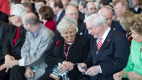 Susan Nutter, Vice Provost and Director of the NCSU Libraries (center), with Hunt Library namesake James B. (Jim) Hunt Jr. at the Hunt Library Dedication, April 3, 2013.