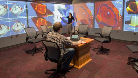 NC State Students work on engaging content in the D. H. Hill Library Visualization Studio