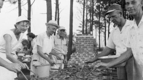Barbecuing chicken in Carteret County, NC, 1956.
