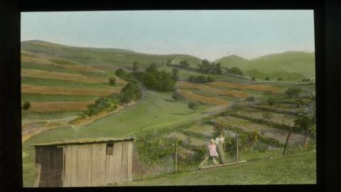 """""""Children in front of strip farming fields"""""""