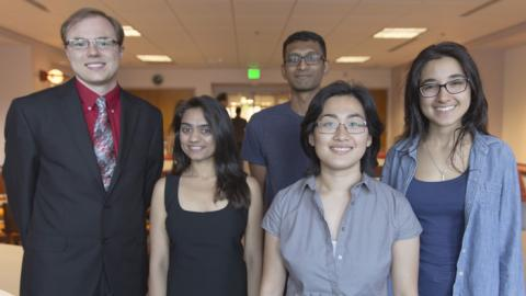 Pictured (left to right) honorable mentions Arthur Berger, Nupoor Jalindre, Santhosh Radhakrishnan, grand prize winner Stephanie Huang and honorable mention Anahid Telfeyan