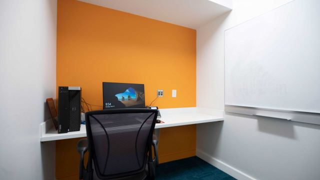 Hill Faculty Focus room 2 3 1 2 K small room with computer desk and chair and wall-mounted whiteboard.