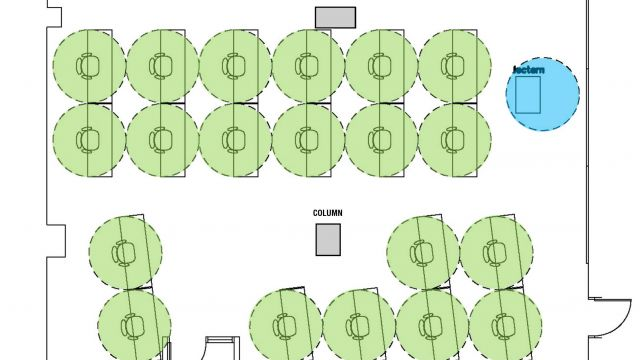 Hill East Learning Lab A furniture layout for social distancing.