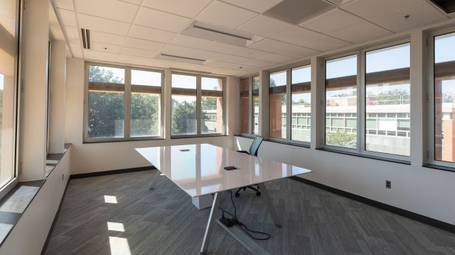 A sunny room with a large, empty table and one office chair, with views out the windows to trees and the tops of other buildings