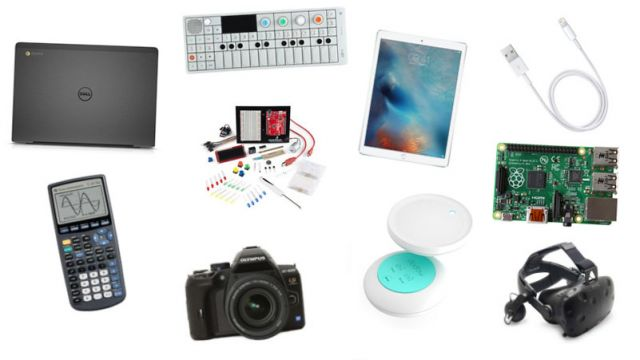 Laptop, calculator, camera, sampler, iPad, cable, VR headset, Raspberry Pi, and other equipment