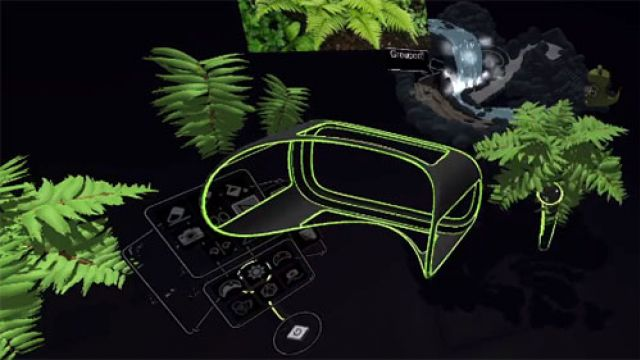 Outline of VR headset surrounded by green ferns and a waterfall