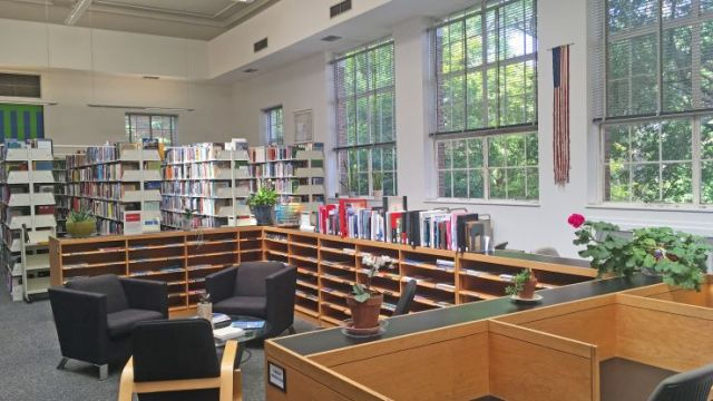 Colorful books on display, sofa chairs, and tall sunny windows in a reading room