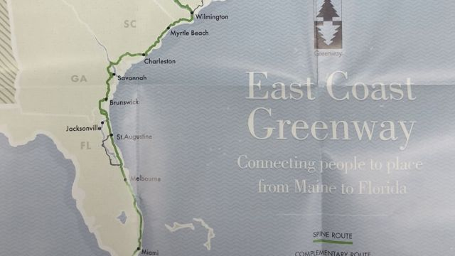 East Coast Greenways Route Map, 2017