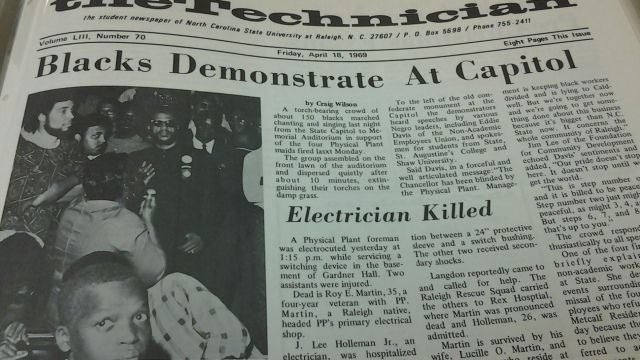 The Technician student newspaper covered protests supporting African American facilities employees during the spring of 1969.