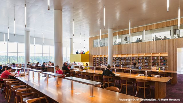 Long study tables in Hunt Quiet Reading Room.