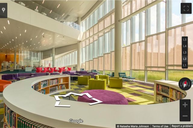 Screen capture of 360° interactive tour of the Hunt Library.