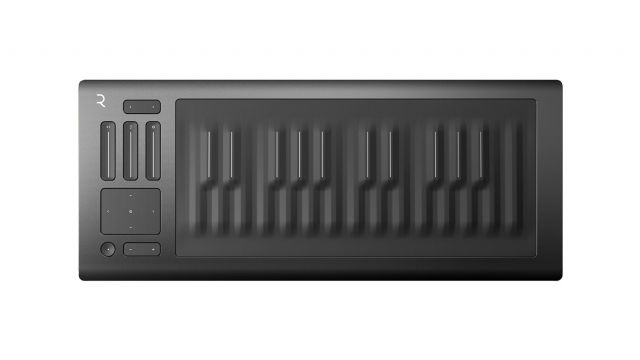Piano keyboard shaped Roli Seaboard Rise with continuous gel surface.