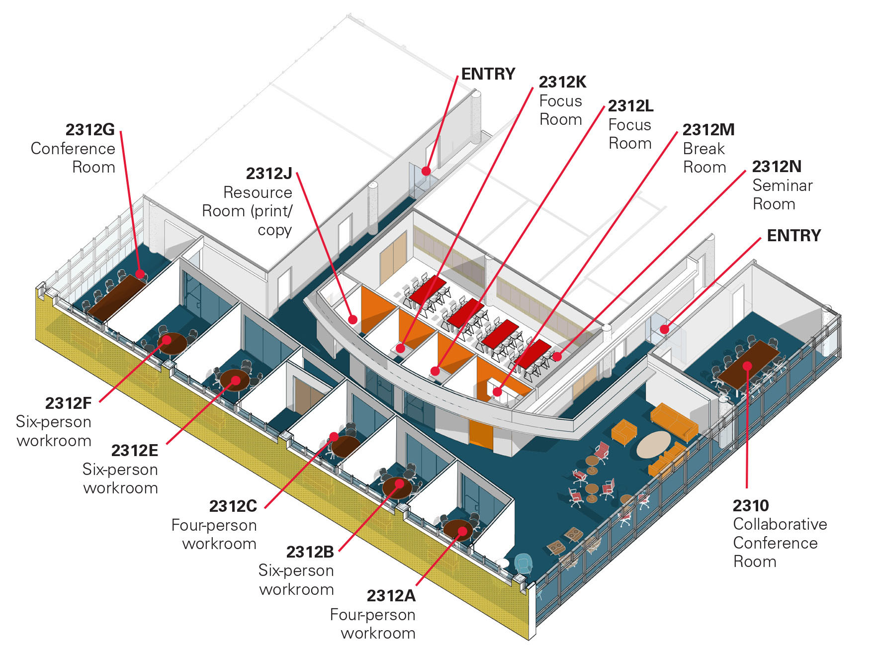 A diagram of the seven workrooms and three conference rooms in the faculty research commons