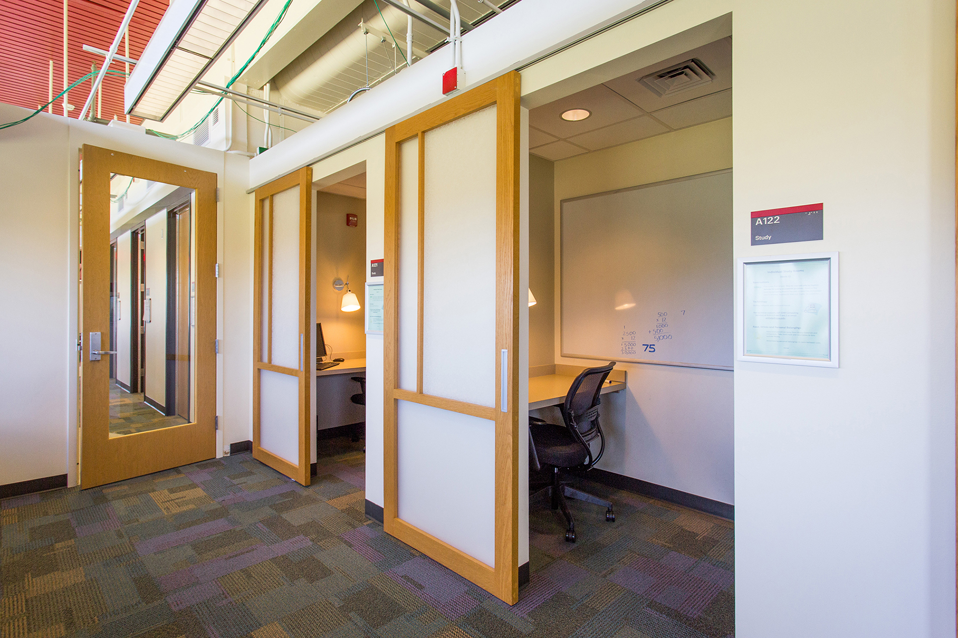 Individual quiet study rooms with sliding doors at the Veterinary Medicine Library