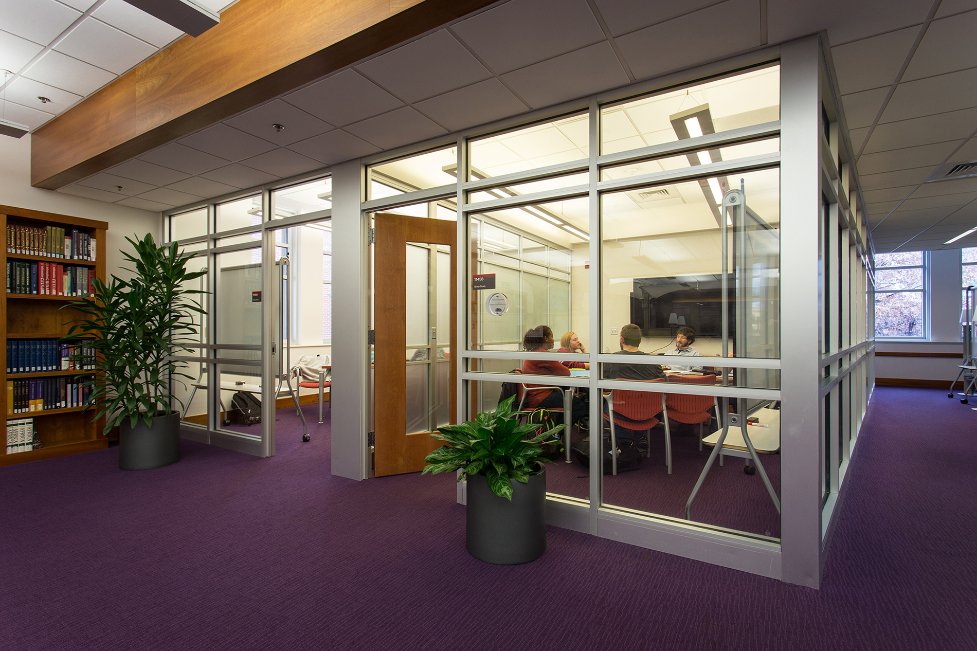 Two study rooms side by side in DH Hill Learning Commons