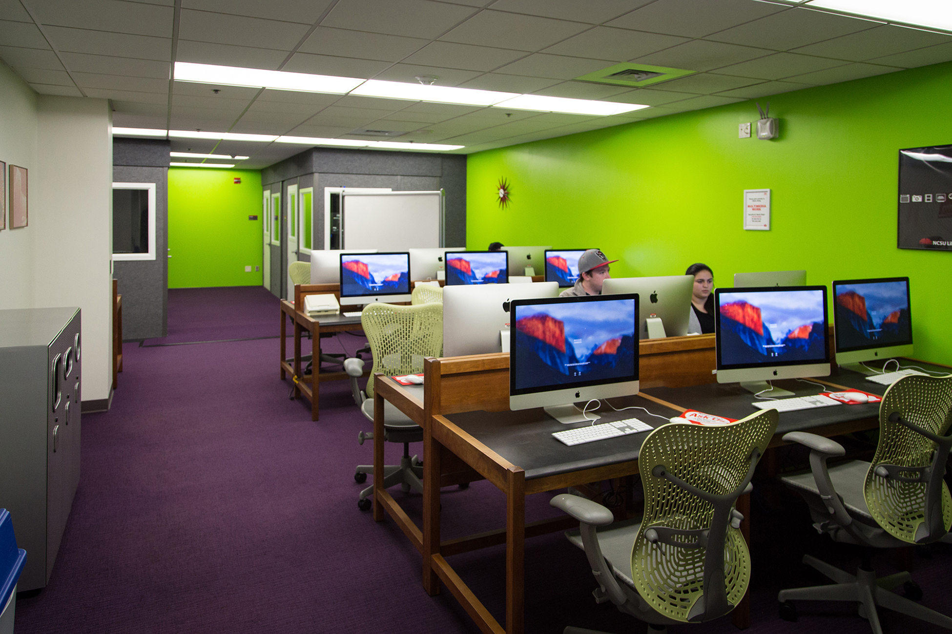 Students work in the Digital Media Lab at DH Hill Library