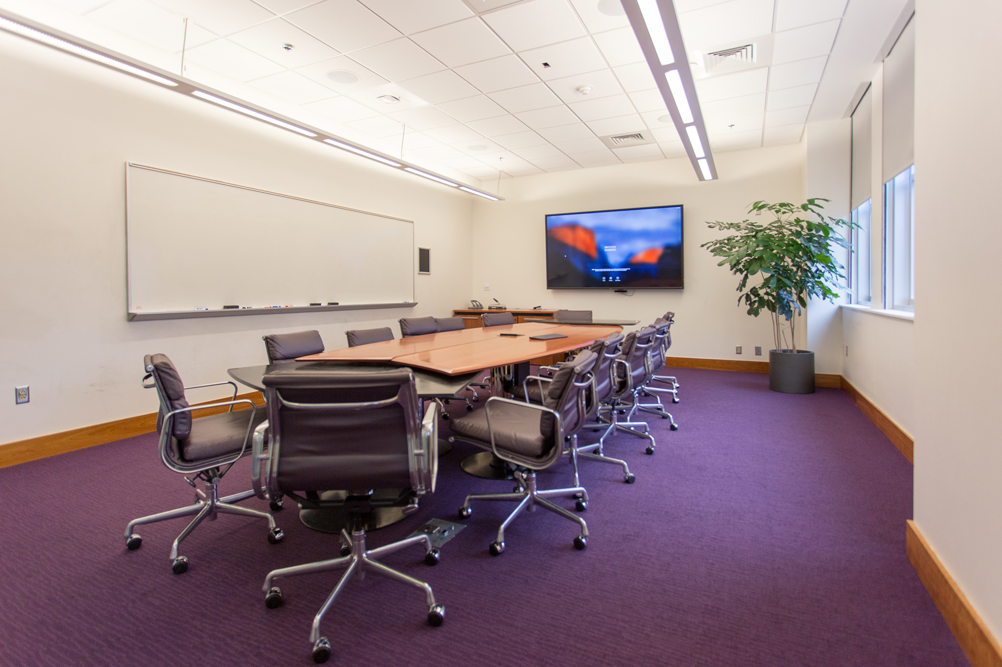 A large purple carpeted room with a whiteboard, wall mounted screen, conference table and ten chairs