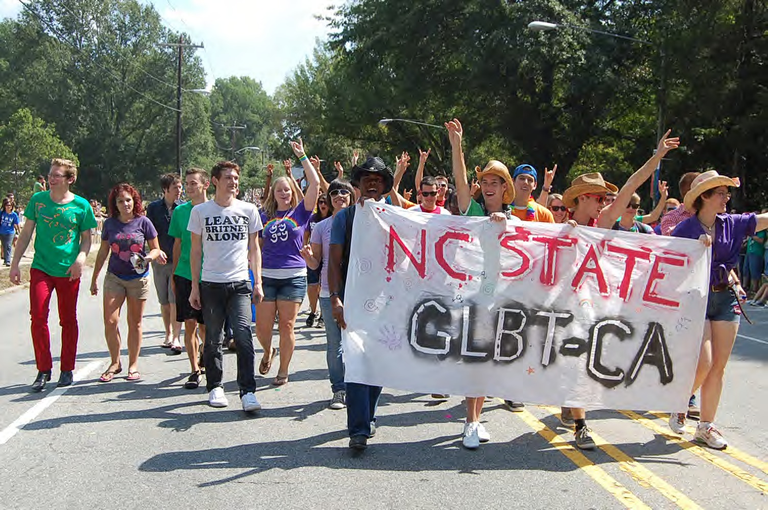 Members of NC State's Gay, Lesbian, Bisexual, Transgender Community Alliance (GLBTCA) at the North Carolina Pride Parade and Festival, Durham, NC, 25 September 2010.