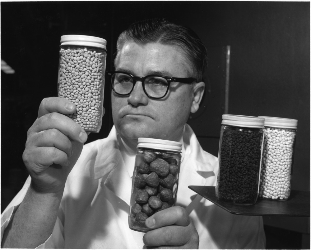 Dr. Maurice W. Hoover with his freeze-dried fruit pellets, 1966.