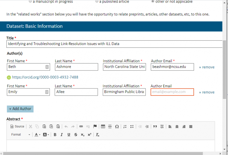 Screenshot of fields for entering information about additional authors in Dryad