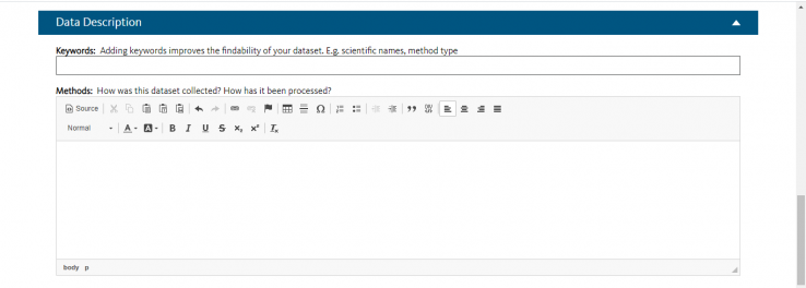 Screenshot of text field for entering data description when adding a new dataset in Dryad