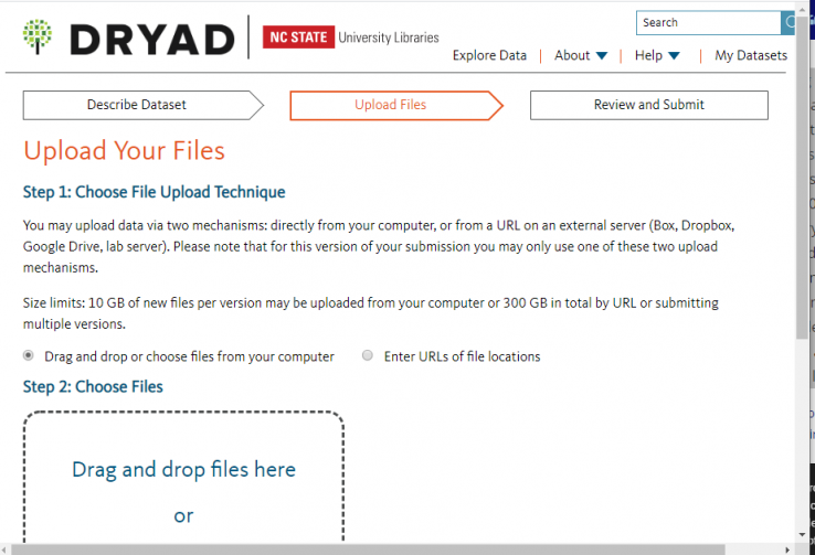Screenshot of prompt for uploading files when adding a new dataset in Dryad