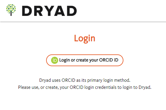 Screenshot of Dryad prompt to Login or create your ORCID ID