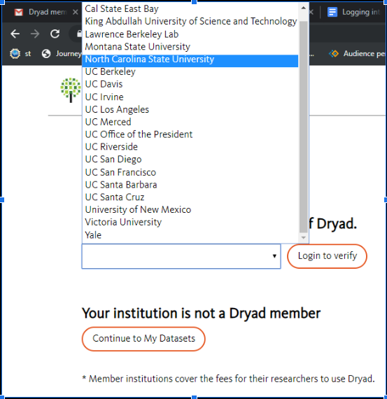 Screenshot of prompt on Dryad page to enter Institution from a dropdown menu
