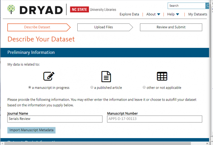 Screenshot of Describe Your Dataset prompt in Dryad, indicating data is related to a manuscript