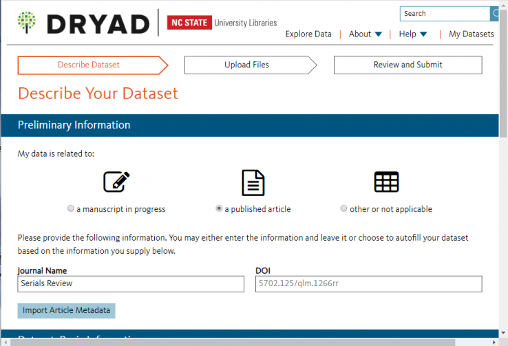 Screenshot of Describe Your Dataset prompt in Dryad, indicating data is related to a article