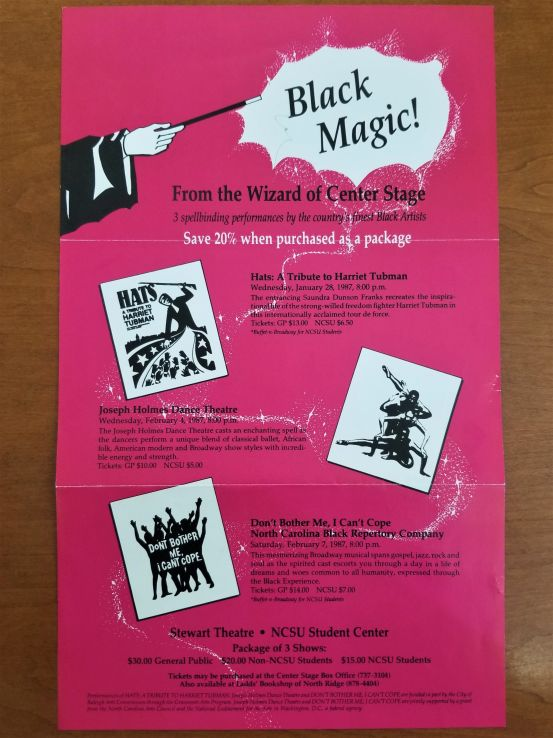 """Black Magic!"" poster featuring a show by the Black Repertory Company, 1987 (UA 005.014, Box 14, Folder 4)"