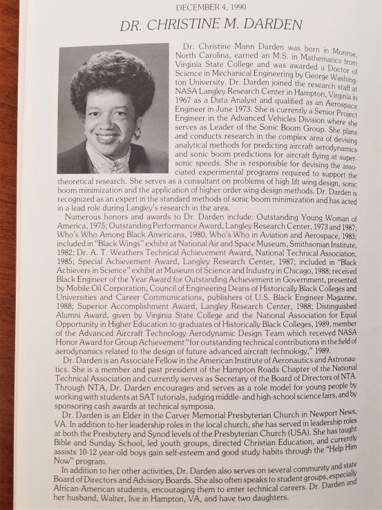 Brief feature on Dr. Christine Darden, honoree at the University-Community Brotherhood Dinner, 1990 (UA 005.014, Box 14, Folder 11)