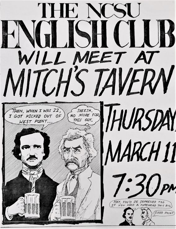 Poster for English Club meeting at Mitch's Tavern, 1992-1994 (UA 120.012, Box 24, Folder 32)