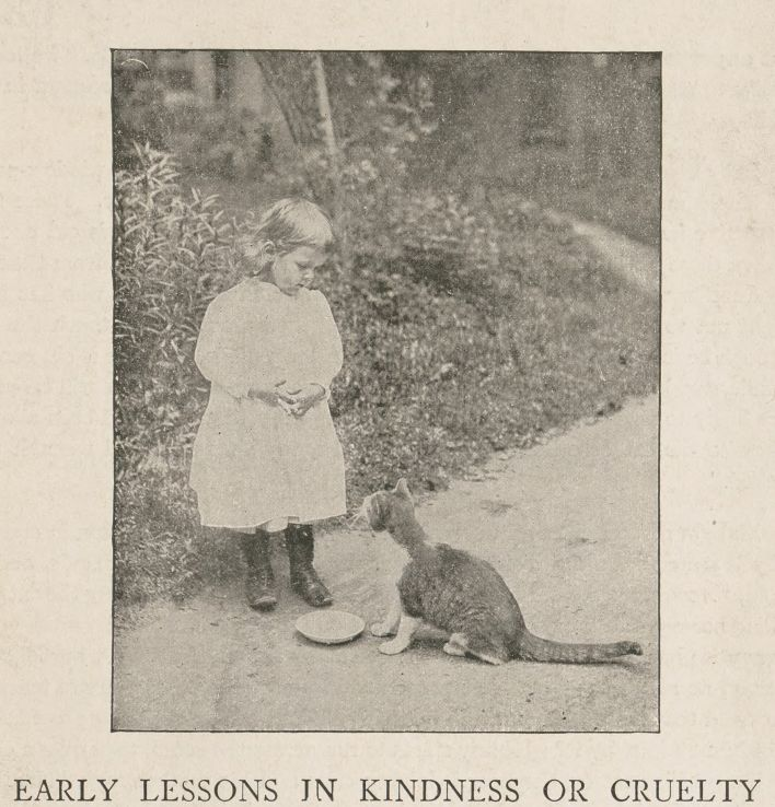 "Young child and cat from ""Early lessons in kindness or cruelty."" From John Ptak Collection of Animal Rights and Animal Welfare Printed Education Materials."