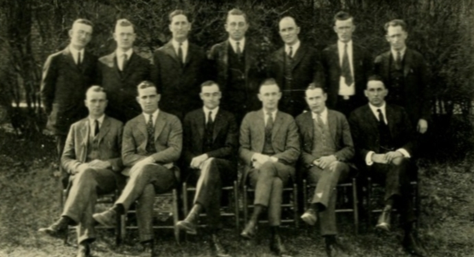 Some disabled student veterans formed the Triangle Club, seen here in the 1924 Agromeck yearbook.