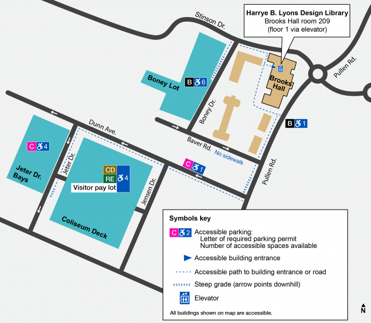 Map of accessible parking. The nearest space is on the street outside Brooks Hall, which requires a B permit. There are more spaces in the Boney Lot, also requiring a B permit. One spot on Dunn Avenue and more spots in the Jeter Drive bays require a C permit. Visitors and RE or CD permit holders can park in the Coliseum Deck.