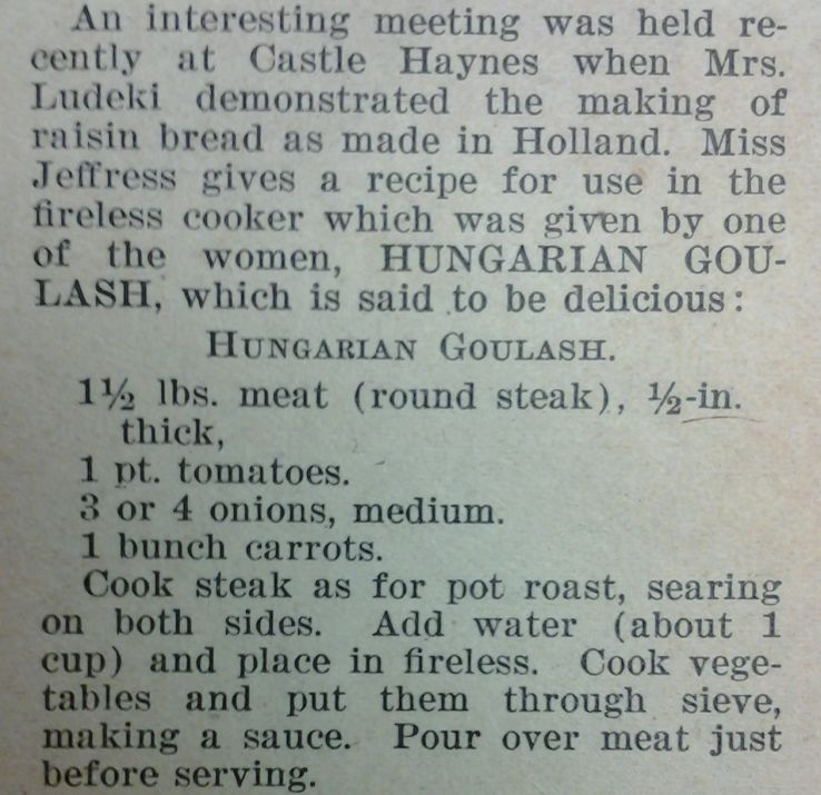 Goulash reciped from Extension Farm-News, 26 Apr. 1919