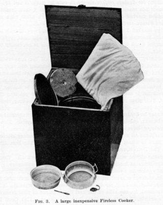 Fireless cooker photo from a 1916 NC Extension publication