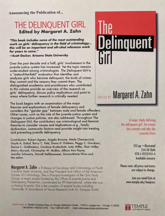 Research papers: The Delinquent Girl, Temple University Press