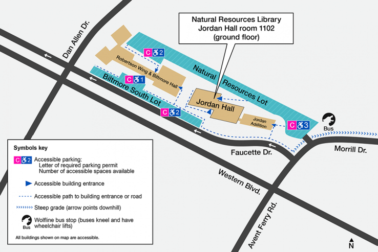 Map with accessible spaces marked in the parking lots north and south of Jordan Hall, which require C Permits. Accessible spaces for visitors are available in the Coliseum Parking Deck. Outside this deck, a Wolfline bus can take you south a short way to Jordan Hall. Also on this map, accessible routes to the entrance of Jordan Hall are marked. All buildings are accessible. The library is located on the ground floor of Jordan Hall.