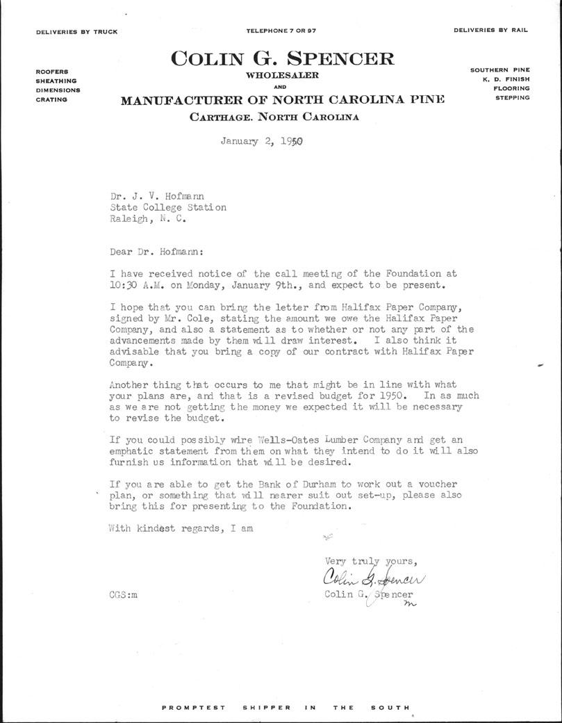 Board of Directors Correspondence, 1950