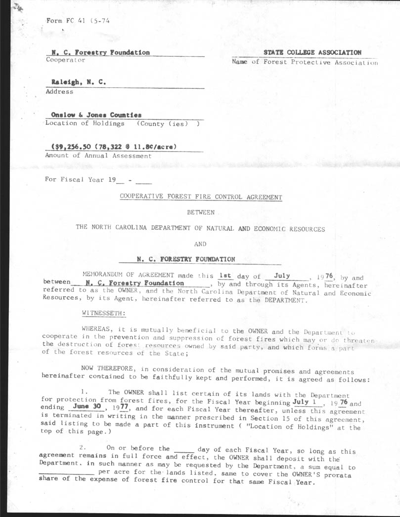 Hofmann Forest Forest Fires Agreements 1975 1983 Part 1
