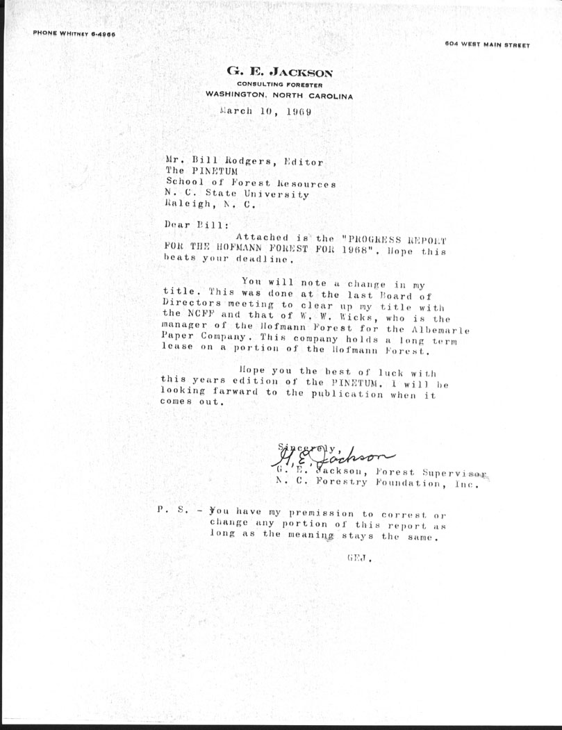 Forest Manager Correspondence, George Jackson, 1969