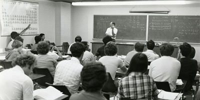 1978: Professor John Rawlings teaching a statistics class.